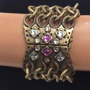 Wide multi chain Rhinestone bracelet Jewelmint